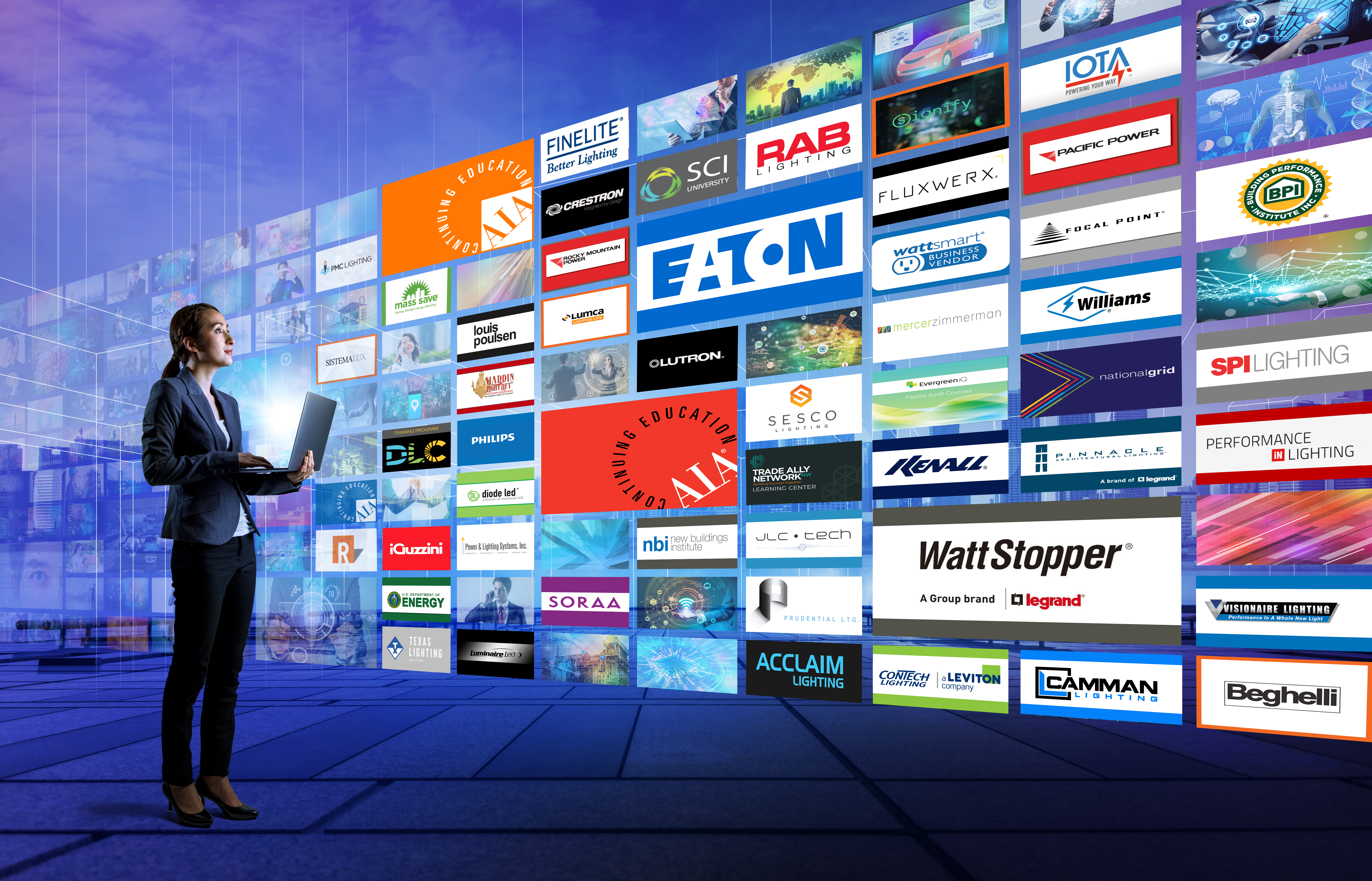 Young woman using laptop PC and various pictures. internet streaming service concept.